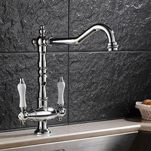 Dual ceramic handle kitchen sink faucet with solid brass hot cold ktichen tap from DONA Sanitary ware mixer tap