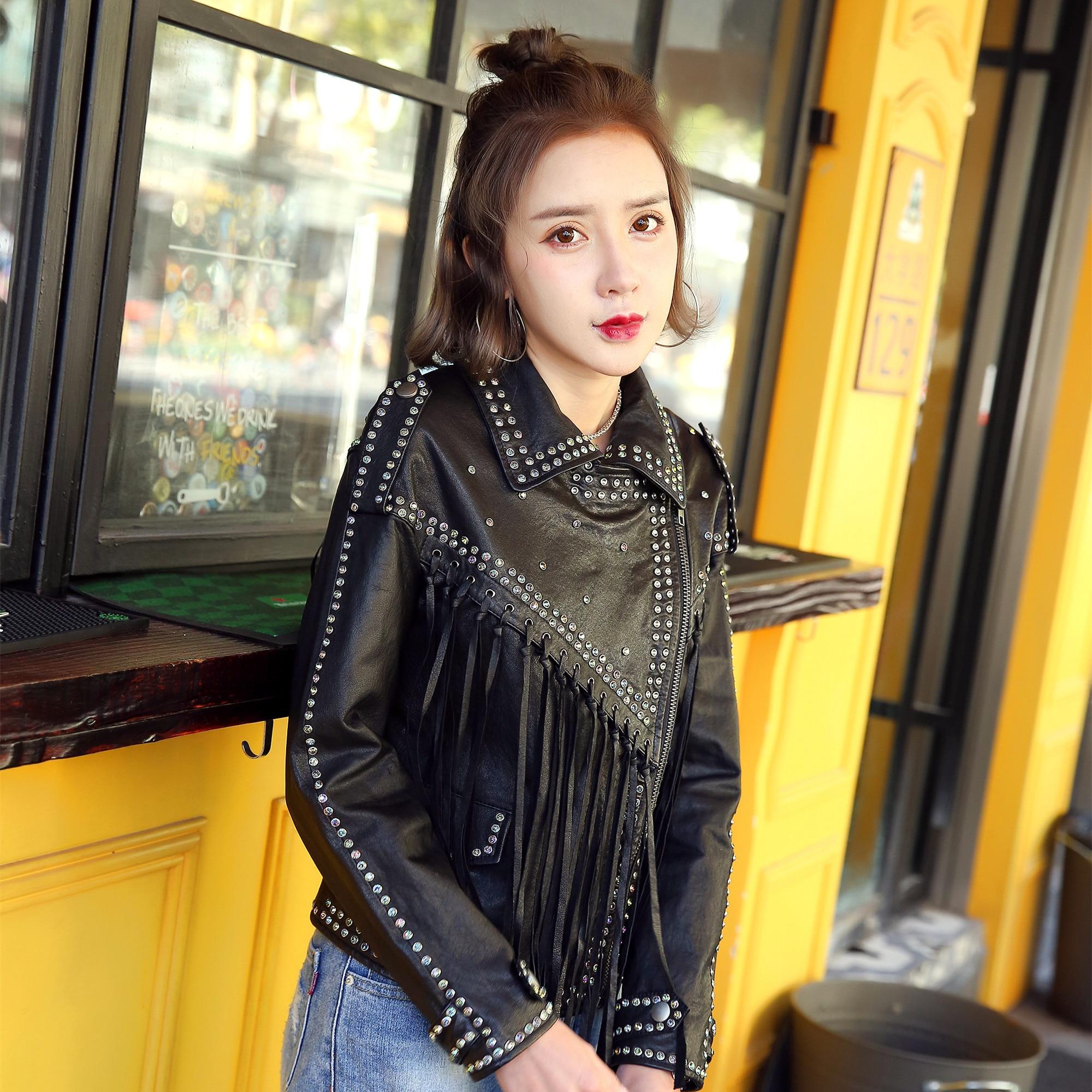 Vintage Coréen Vêtements Manteau Court Femmes Veste Véritable Peau Manteaux Hiver Mouton Automne Tops Zt1573 De Cuir En 2018 Black qB1Yw7vO