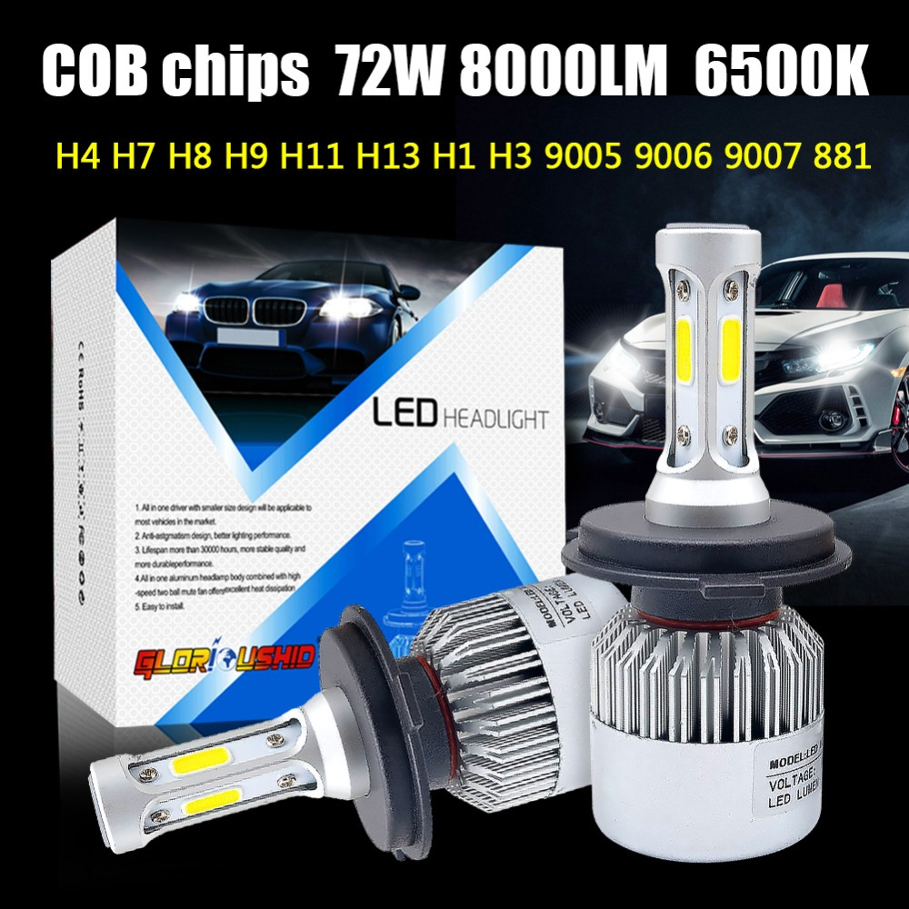 2 unids H7 H4 LED H11 H1 H3 9005 9006 led coche faro bombilla 72 W 8000LM 12 V automóvil lámpara antiniebla COB chips blanco 6500 K