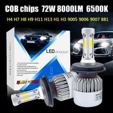 2pcs H7  H4 LED H11 H1 H3 9005 9006  LED Car Headlight Lamp 72W 8000LM 12V Automobile lamp COB Chips white 6500K Super Bright