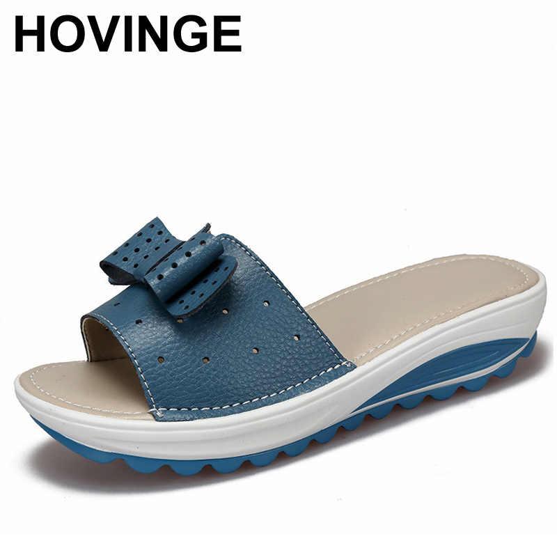 Hovinge Новая модель; женские тапочки из коровьей кожи Женская обувь на плоской подошве; на платформе; на танкетке; женские шлепанцы без задника с открытыми пальцами Пляжные сланцы летняя обувь леди D024