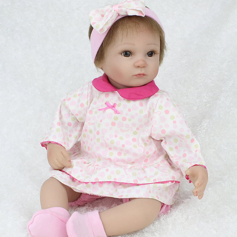45 cm Silicone Reborn Baby Doll Lifelike  Newborn Baby girl Doll poupee Toy  Christmas Gift to Kid Child Baby Girl brinquedos 55cm silicone reborn baby doll toy lifelike npkcollection baby reborn doll newborn boys babies doll high end gift for girl kid