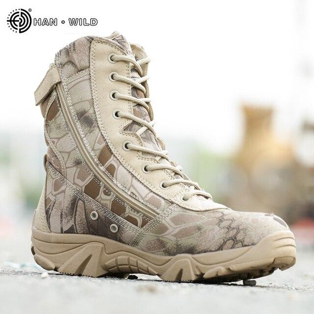 Erkekler Savaş bileğe kadar bot 2018 Bahar Su Geçirmez Deri Baskı Iş Çöl rahat ayakkabılar Erkek Taktik Askeri asker botu