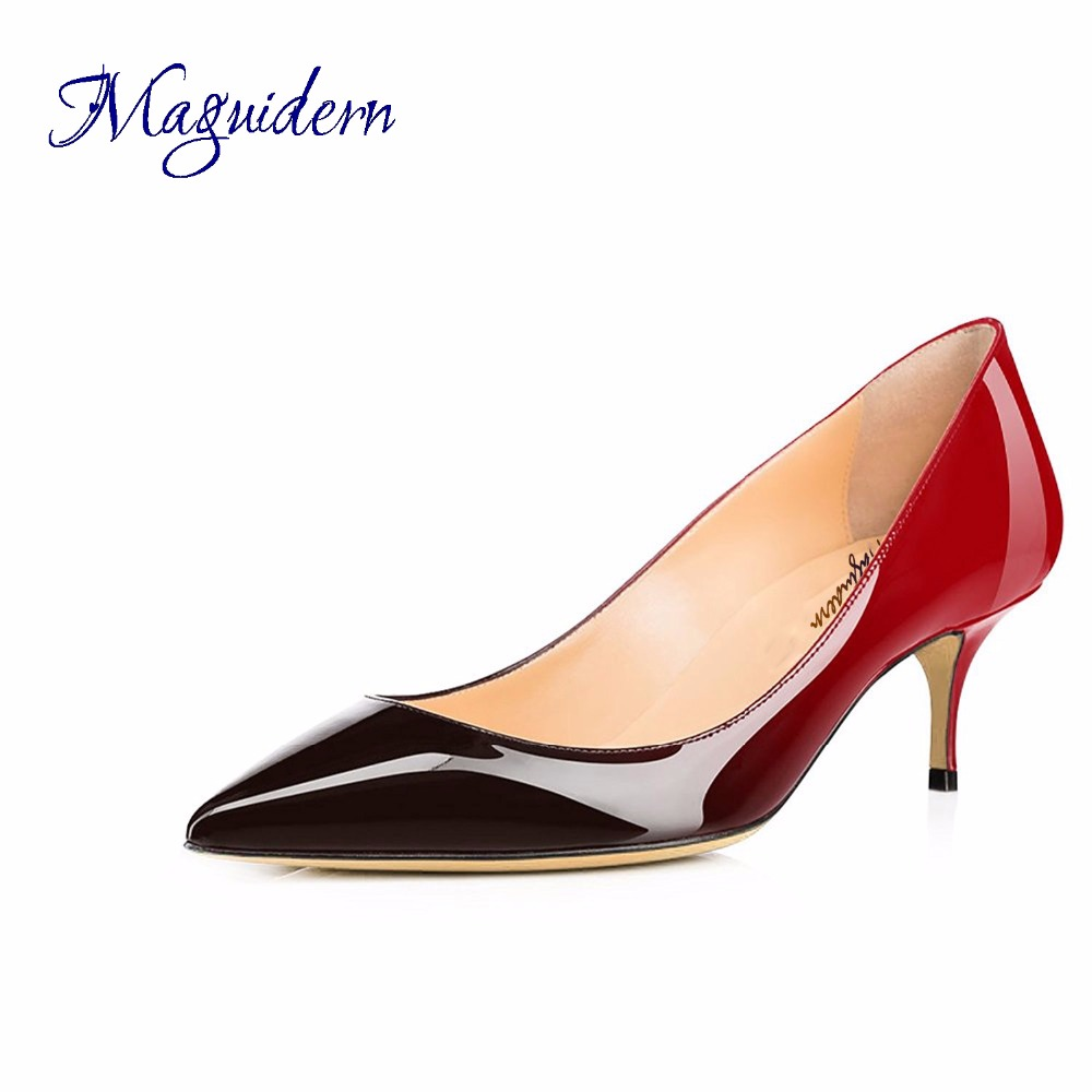 Maguidern pumps shoes 2 5 inches kitten heels slip on pointed toe ... 83278a10889a