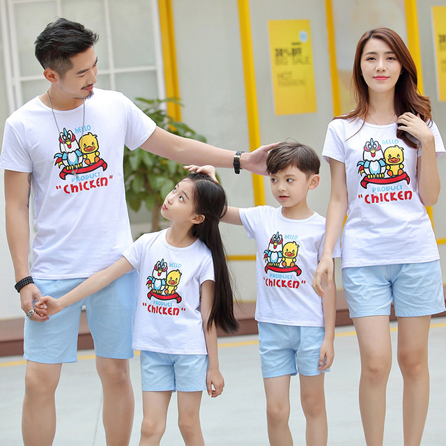 1009360ee607 2018 Summer Family Wear Korean Fashion O Neck Cotton Short Sleeve T Shirts  + Shorts 2pcs Set Lovers Couple Cartoon T Shirts