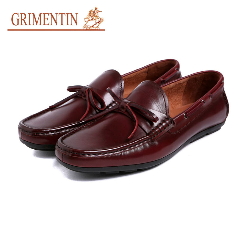 GRIMENTIN Men Luxury Loafers Moccasins Shoes 100% Genuine Leather Black Brown Tassel Formal Shoes Slip On Solf Casual shoes