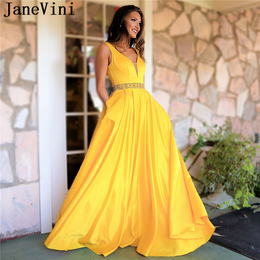 JaneVini Elegant A Line Yellow   Prom     Dresses   with Pockets 2019 V Neck Beaded Backless Plus Size Satin   Prom   Party Gown Gala Jurken