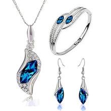 Alta Qualidade Brincos De Cristal Colar pulseira Conjuntos de Jóias de moda de Casamento Das Mulheres Jóias Acessórios Presente de Natal
