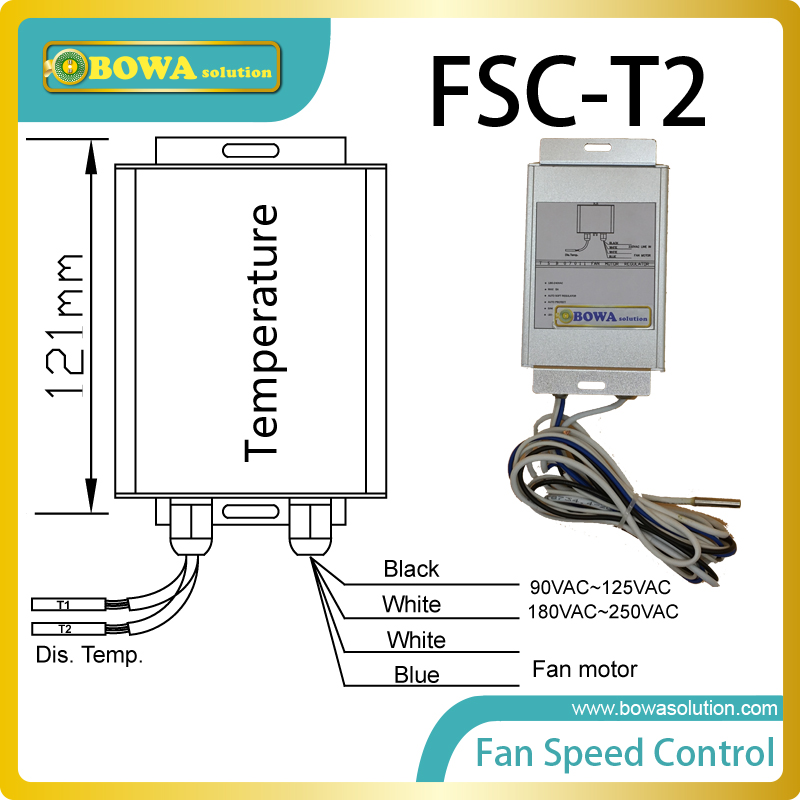 Condenser fan speed control with 2 temp. bulb ensures no overheating and a longer product lifetime of condensing and AC units