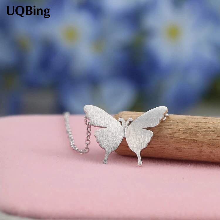 925 Sterling Silver Necklaces Butterfly Pendants&Necklaces Pure Sterling Silver 925 Chain Necklace Jewelry Collar Colar de Plata
