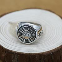 NEW Vintage 100 925 Silver Fengshui Ring Thai Silver Bagua Ring Real Pure Silver Fengshui Taichi
