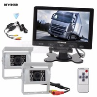 DIYSECUR Wireless 7 inch Touch Car Monitor Backup CCD Waterproof Camera Rear View Kit for Horse Trailer Motorhome System