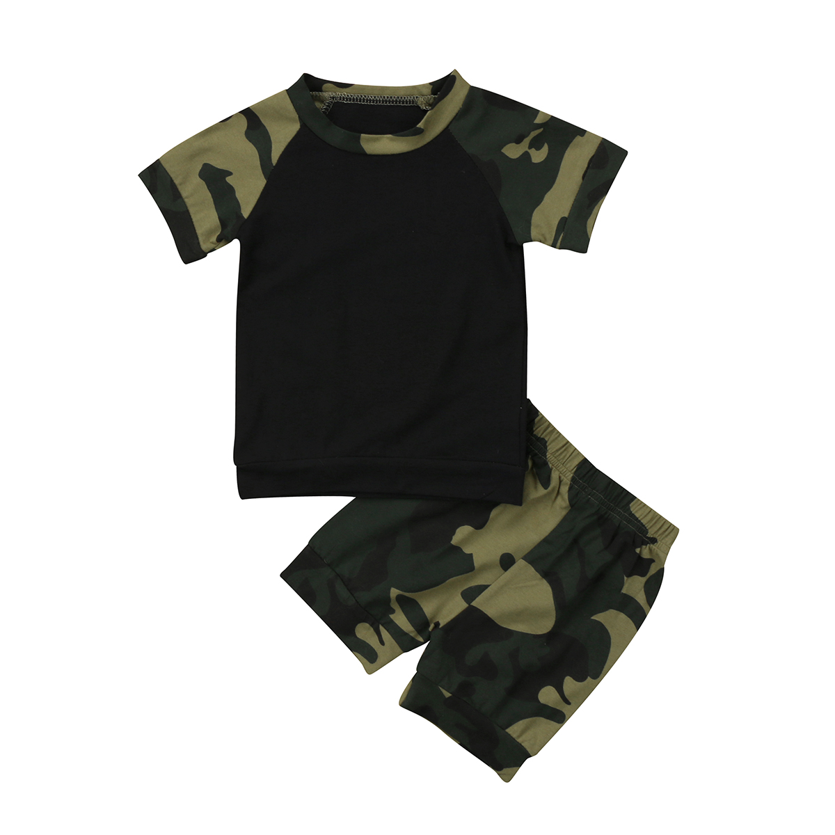 Infant Newborn Baby Boys Girls Summer Outfits Casual Camo T-Shirt Tops + Short Pants Clothing Set