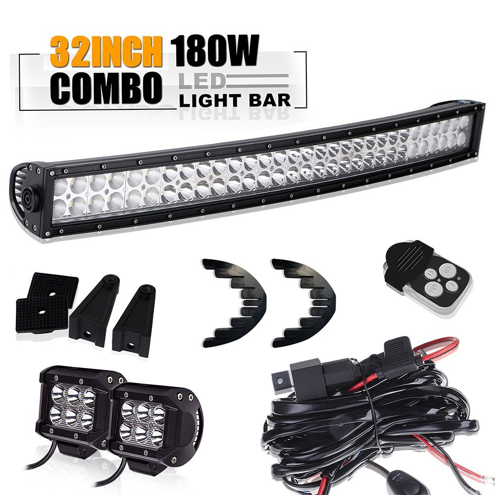 32Led Light Bar Curved Spot Flood +w/4 Pods Cube Auxiliary Driving Fog light Lamp On Bumper Grill+1pc lead wiring kit