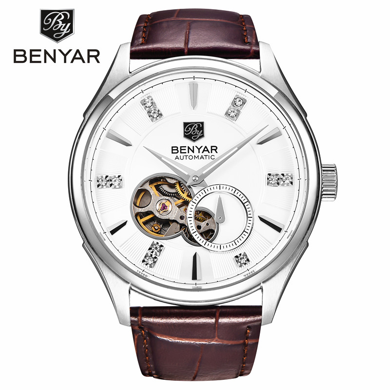 Benyar Mens Tourbillon Automatic Mechanical Watches Men Top Brand Luxury Dive 30M Business steel Watch Man