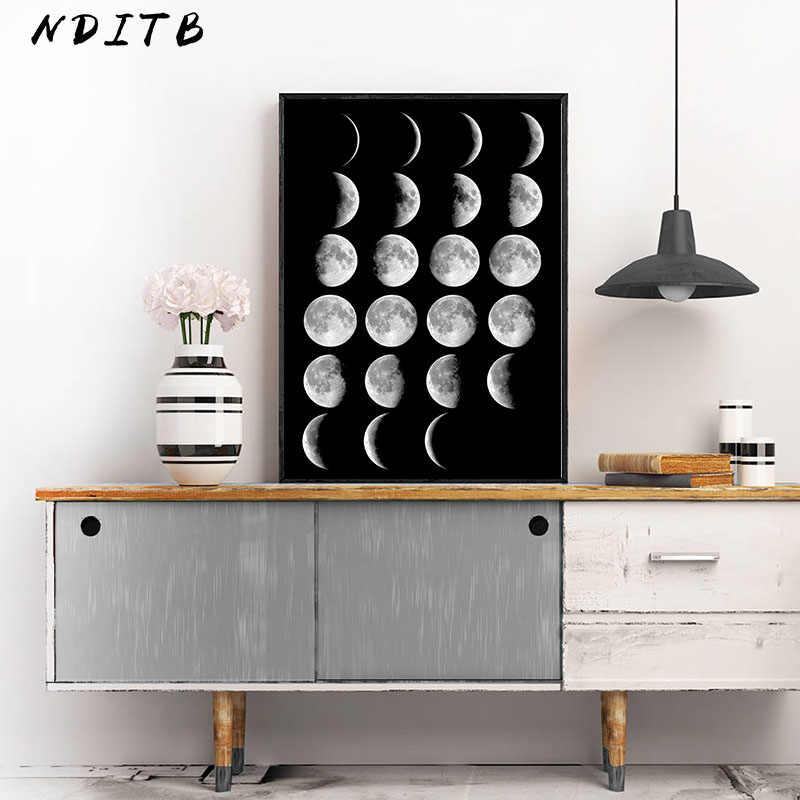 القمر المرحلة قماش الملصقات والمطبوعات الحد الأدنى لونا جدار الفن مجردة اللوحة الشمال الديكور صور ديكور المنزل الحديث