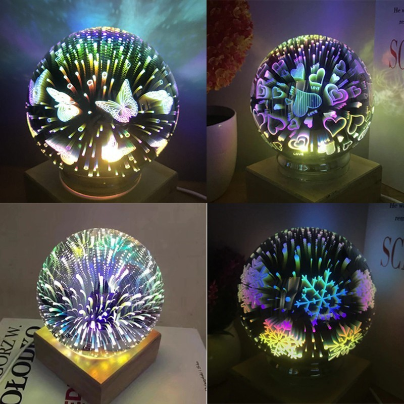 doxa Novelty 3D Glass Ball Starry Sky Star Light Table Moon Lamp Fairy Tale Fireworks Night Light Christmas Decoration USB Power цена