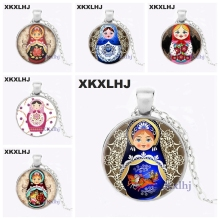 XKXLHJ Traditional Russian Doll Jewelry Russian Matryoshka Necklace Handmade Russian Doll Glass Dome Necklace mnotht 7 layer wooden russian dolls handmade paint animal pattern tasteless dry basswood matryoshka doll education toys l30