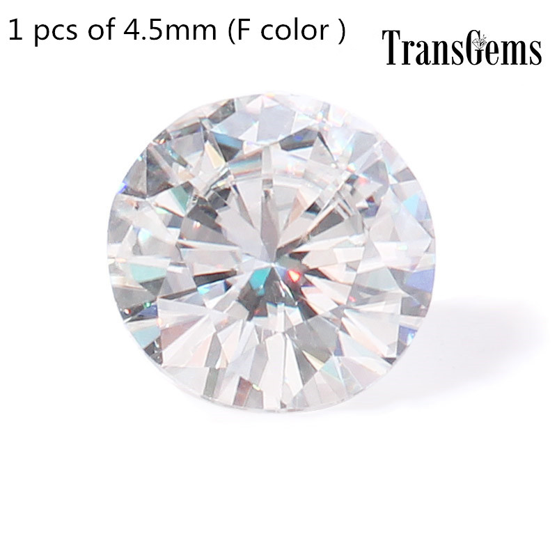 TransGem 1pcs 4.5mm Equivalent Diamond Carat Weight 0.33ct