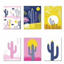 Colorful Cartoon Cactus Decor Nursery Wall Art Canvas Posters And Prints Painting Decorative Picture Kids Bedroom Decoration