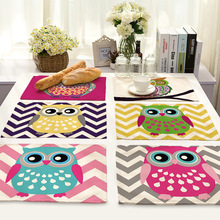 CAMMITEVER 2pcs Lovely Owl Placemat Dining Table Mats Set De Table Bowl Pad Napkin Dining Table Tray Mat Coasters Kids Table Set 2pcs set lovely