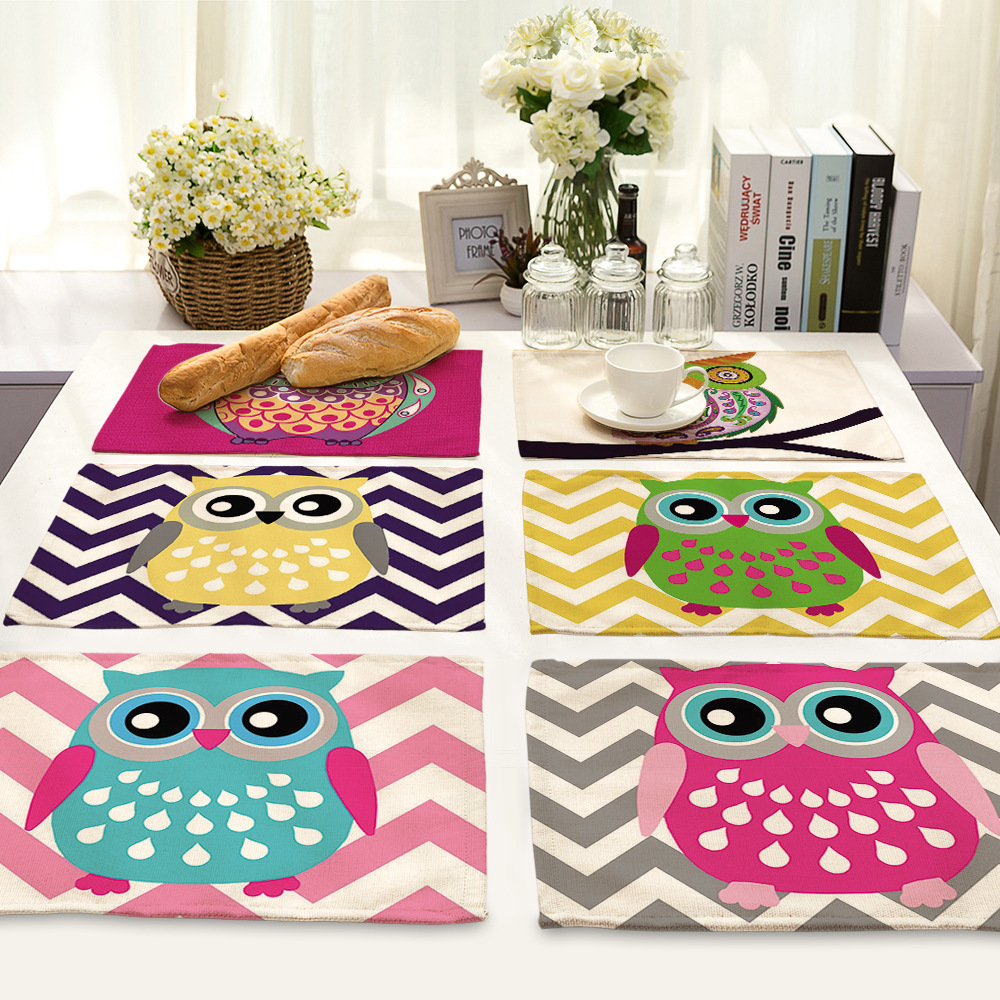 CAMMITEVER 2pcs Lovely Owl Placemat Dining Table Mats Set De Table Bowl Pad Napkin Dining Table Tray Mat Coasters Kids Table Set