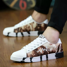 hot deal buy lettbao men's vulcanized shoes fashion sneakers for men print casual shoes lace-up platform  shoes men 2018 new in mens shoes