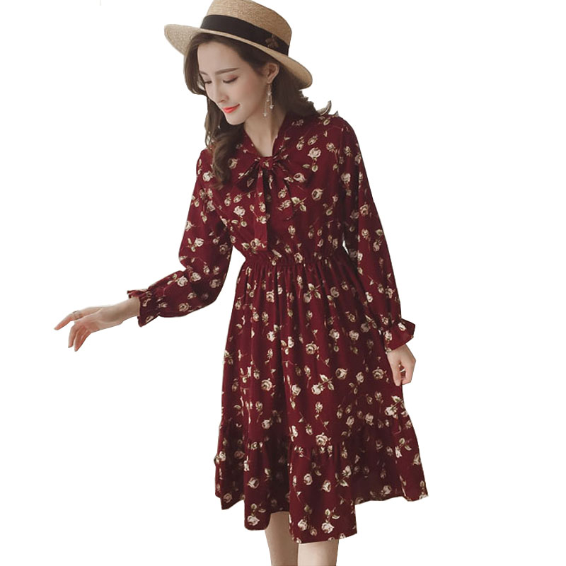 Summer Autumn Midi Chiffon Dress vintage Women Casual Cute floral Print Bowknot Neck Long Sleeve Dresses Retro Vestido S-XL floral chiffon dress long sleeve