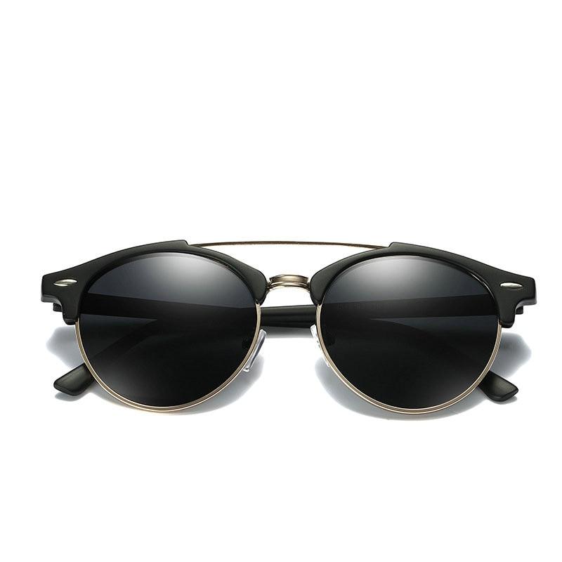 Custom Made Myopia Minus Prescription Polarized Lens Sunglasses Men Half frame Double beam round Sun Glasses Male Goggles FML 3