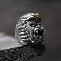 Ancient male male ring gorilla ring in S925 sterling silver