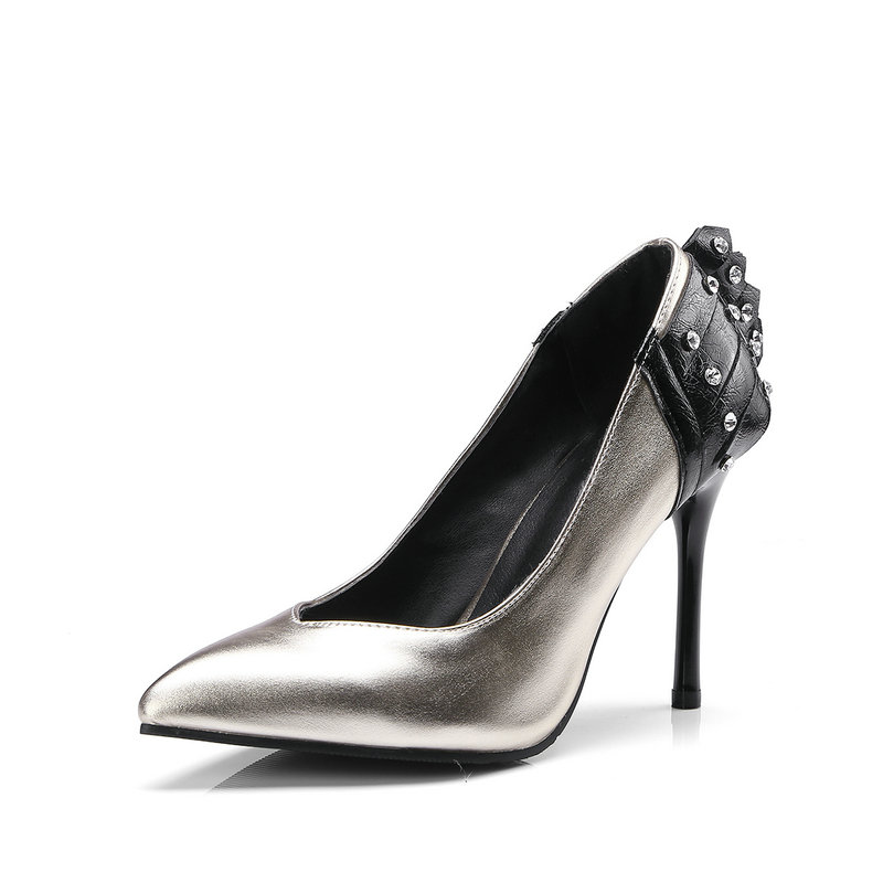 Chaussures De Pompes Printemps Femme Or Noir Sexy Robe Bout Mince Hauts or Automne Talons Mode Pointu Femmes Noir Rivet À YS6qwqx