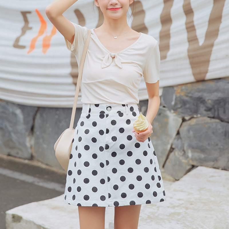 Summer Retro Wave Point Denim Women 39 s Skirt Casual Korean Jean High Waist Skirt Female A line Mini Skirt Woman Fashion 2019 in Skirts from Women 39 s Clothing