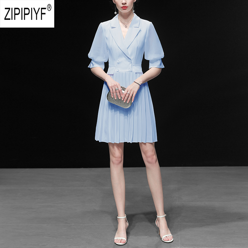 Elegant Fashion Women Dresses Solid Color Short Sleeve Double breasted Pleated Dresses Office Lady Casual Dresses