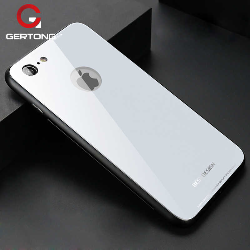 Tempered Glass Case For iPhone 6 6S 7 8 X 6 S Plus Soft TPU Cover Bumper Hard PC Phone Bags Cases Glossy Armor For iPhone X 10