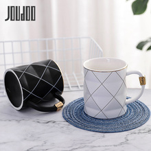 JOUDOO Nordic Golden Black and White Grid Geometry Ceramic Coffee Mug Porcelain Juice Drinking Cup Milk Tea 35
