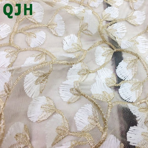 Image 2 - 5y Exquisite Gold thread 3D embroidery lace fabrics,High quality white mesh Openwork wedding Accessories Dress embroidered cloth
