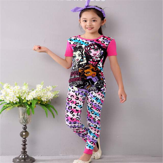 Monster Girls  Clothes Clothing Set Children's Pajamas Set Girls Sleepwear Set Girls Ever After Set Shirt+Pants Suit High School