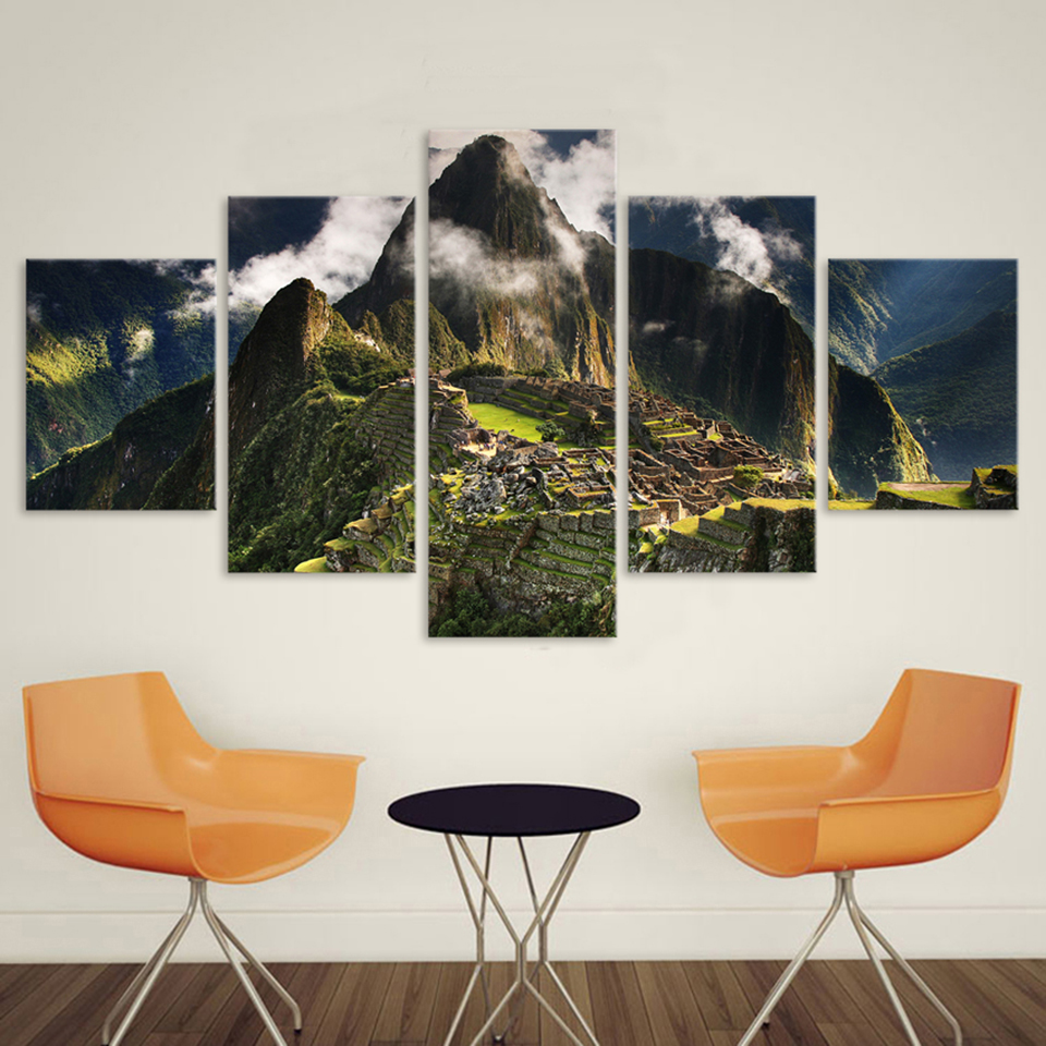 Home Decoration Wall Pictures For Living Room Canvas Art Landscape Painting 5 Panel Machu Picchu Peru Mountains Clouds Hills