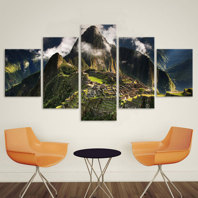 Home Decoration Wall Pictures For Living Room Canvas Art Landscape Painting  5 Panel Machu Picchu Peru