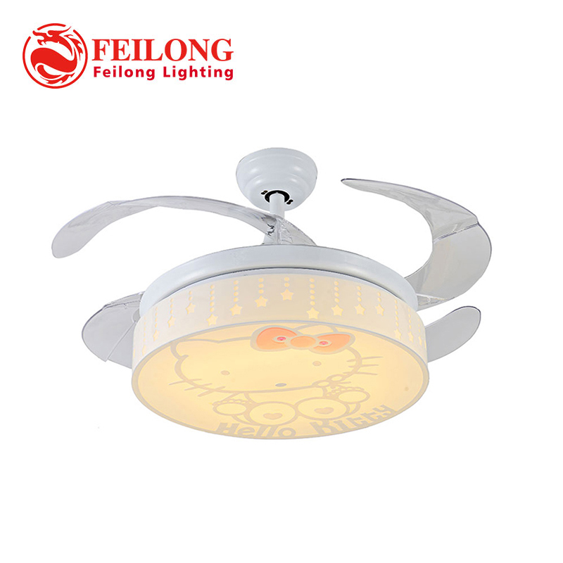 Hello Kitty Ceiling Fan with light Y4223 Hidden ABS Blades Led ceiling fans light Childrens room ceiling fans Pink Girl Bedroom