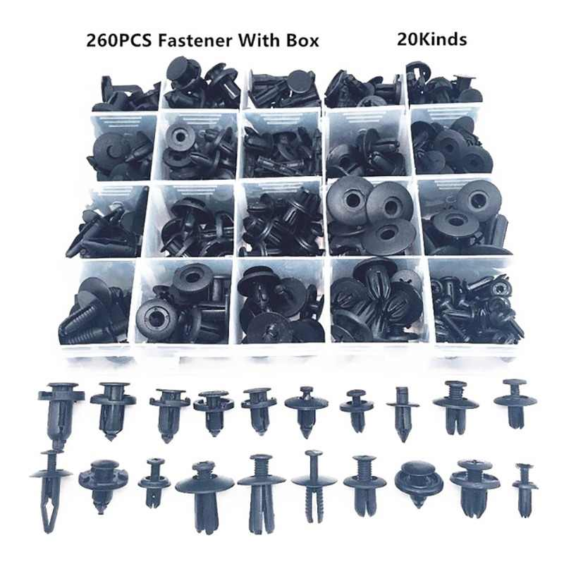 260PCS Universal Mixed Car Bumper Fender Screw Plastic Fastener Clip With Box Set For All Auto Rivet
