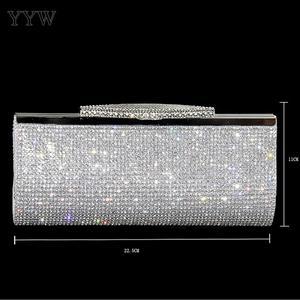 Image 5 - שקיות מסיבת ערב יהלומים מלאכותיים עור Pu מצמד תיק האופנה תיק crossbody ארנק כלה חתונה שרשרת נשית נשים תיק