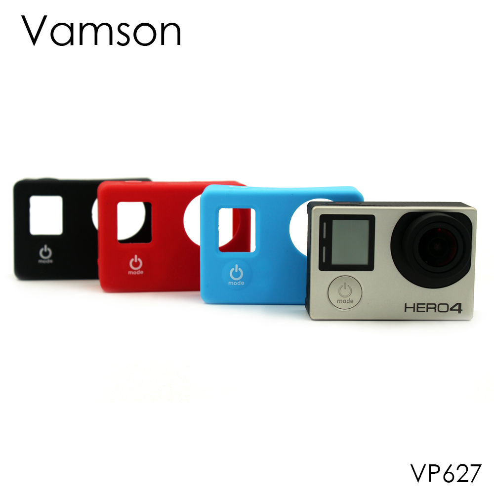 Vamson for Gopro Accessories Silicone 3 Colors Gel Rubber Protective Case Dustproof Skin Cover for GoPro Hero 4 3+3 Camera VP627 silicone protective cover skin for gopro hero 3 camera