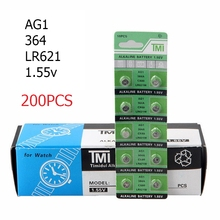 200Pcs/lot=20cards AG1 Alkaline Cell Batteries AG1 364 364A Cx60 LR621W 1.55V Alkaline Coin Cell Button Batteries For Watch Toys цена 2017