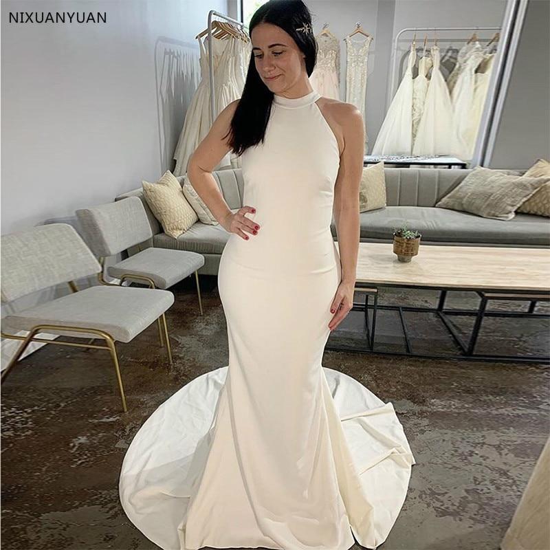 New Simple White Ivory Mermaid Wedding Dresses Halter Neck Sleeveless Vestido De Novia Sexy Backless Chapel Train Bridal Gowns