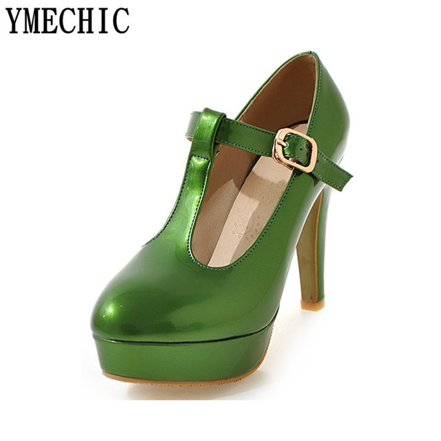 ca7fad499fee4d YMECHIC Womens T-Strap Platform Extreme High Heels Green White Sweet Girls  High Heel Shoes