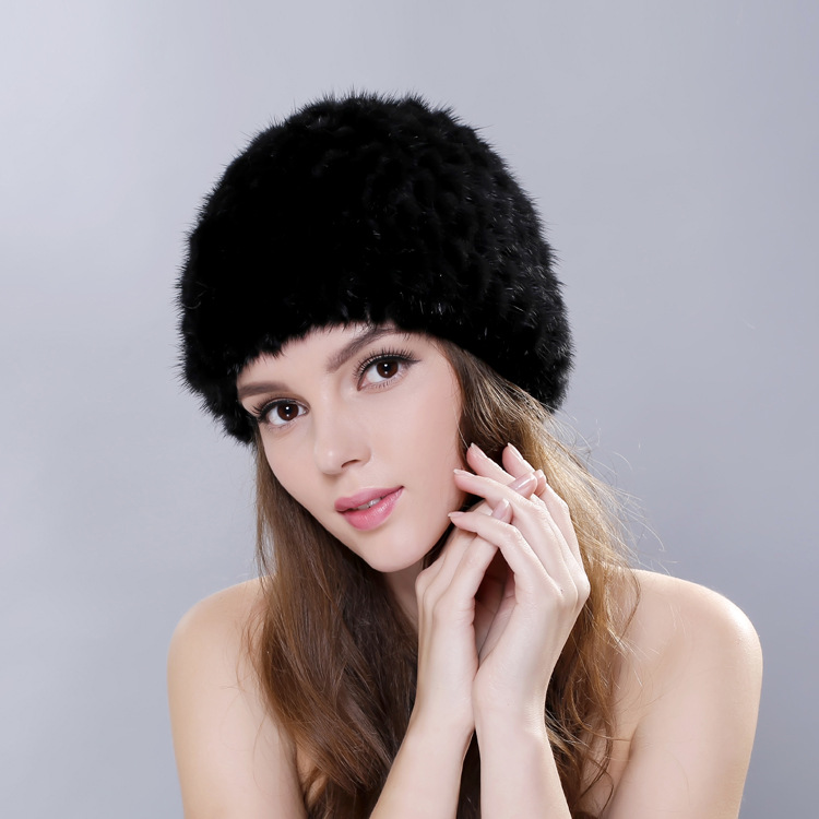 2016 Women Winter Hats With Natural Real Fur Female Cap Mink Fur Real Knitted Caps Pineapple