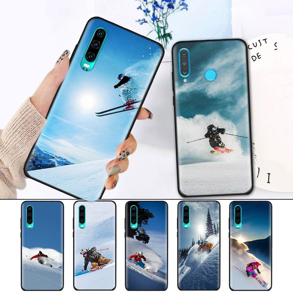 100% Kwaliteit Zwart Siliconen Cover Case Voor Huawei P30 P20 P10 Mate 20 10 Lite Pro Nova 4 4e 3e P Smart 2019 Plus Shell Cool Alpine Skiën