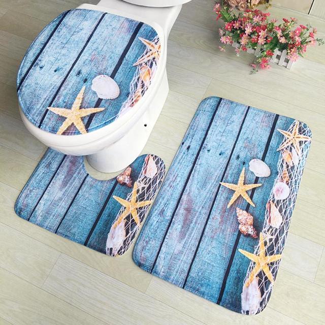 3pcs/set Bath Mats Flannel Printing Anti Slip Bathroom Carpet Floor Mat U shape pad Toilet Rug for Three Sets of Bath Mat