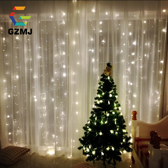 6Mx3M New Year Christmas Garlands LED String Christmas Lights Fairy Xmas Party Garden Wedding Decoration Curtain Fairy Light